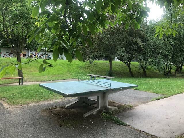 Zahrada naší školy nabízí studentům mnoho sportovních aktivit.